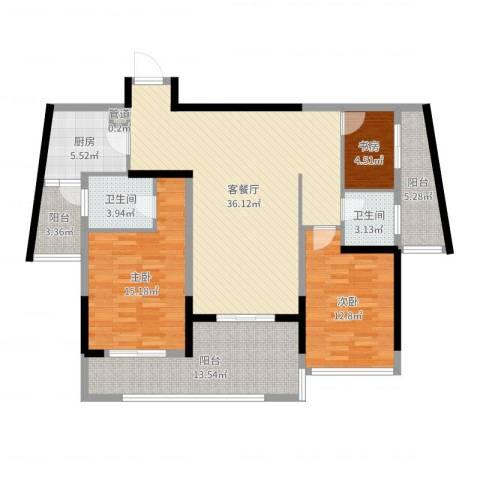 红豆美墅3室2厅2卫1厨129.00㎡户型图