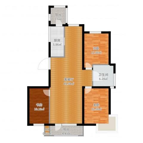 营口世博花园3室2厅2卫1厨120.00㎡户型图