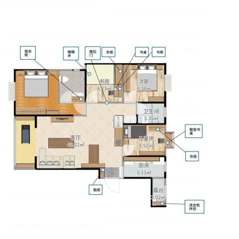 腾瑞幸福里2-103室1厅2卫2厨119.00㎡户型图