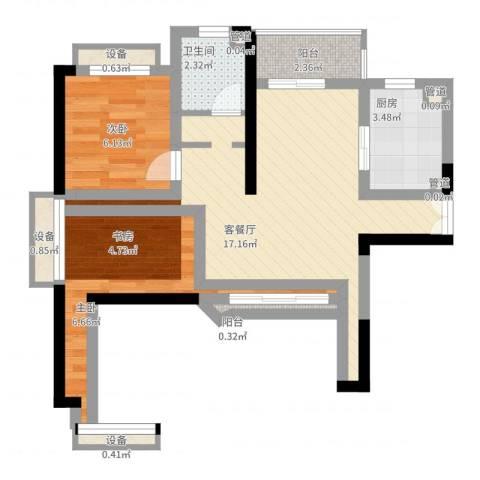 枫庐新天地2室2厅1卫1厨66.00㎡户型图