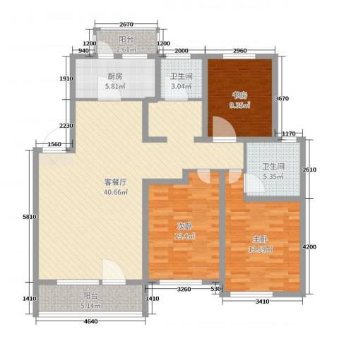 香墅湾庄园3室2厅2卫1厨124.00㎡户型图