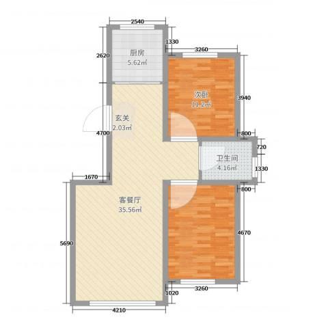 香墅湾庄园1室2厅1卫1厨87.00㎡户型图