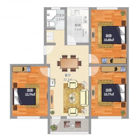 菜花泾小区3室1厅1卫1厨91.00㎡户型图