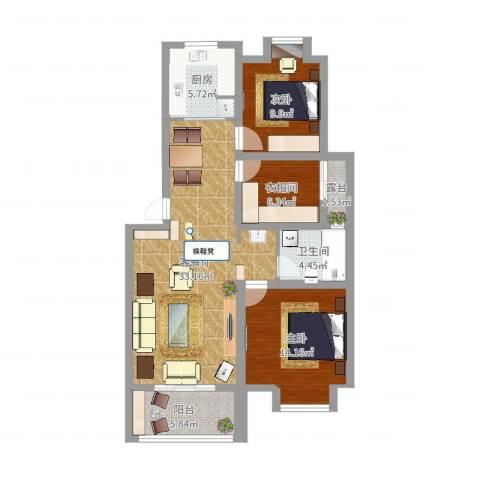 香缇豪庭2室2厅1卫1厨101.00㎡户型图
