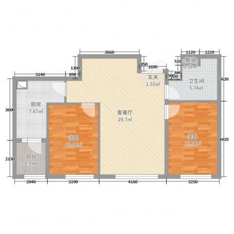 国宝星月湾2室2厅1卫1厨90.00㎡户型图