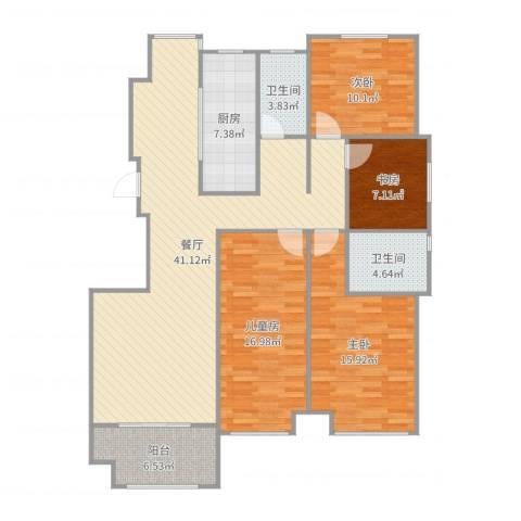 幸福壹号公馆4室1厅2卫1厨142.00㎡户型图