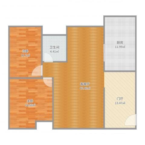宏远御庭山别墅2室2厅1卫1厨113.00㎡户型图