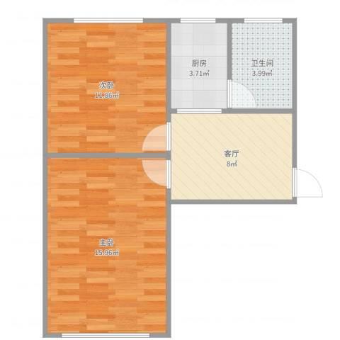 泾东一村一梯三户03室2室1厅1卫1厨54.00㎡户型图