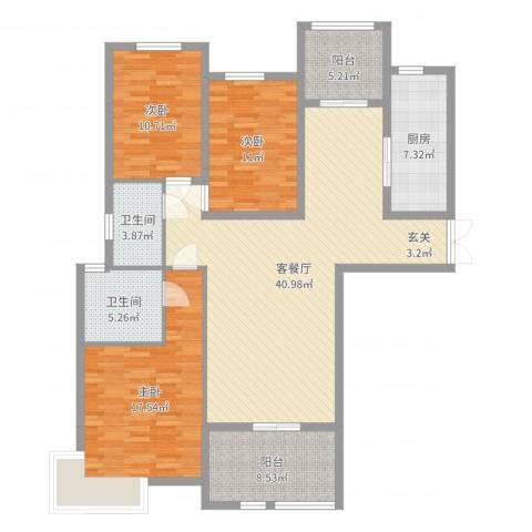 康和西岸3室2厅2卫1厨138.00㎡户型图