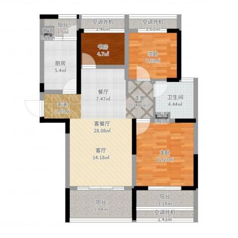 骋望七里楠花园3室2厅1卫1厨97.00㎡户型图
