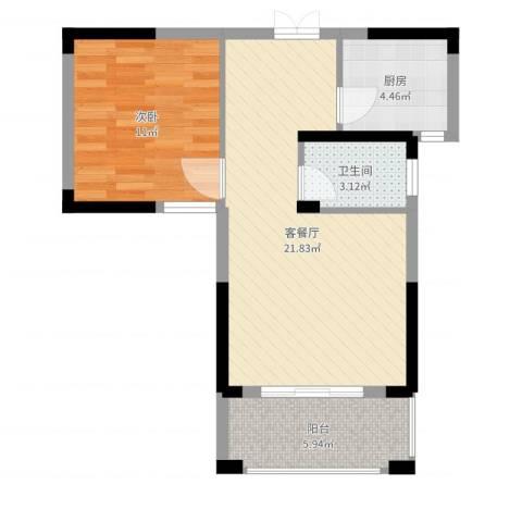 格林公馆1室2厅1卫1厨58.00㎡户型图