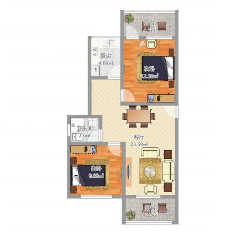 德埔小区2室1厅1卫1厨77.00㎡户型图