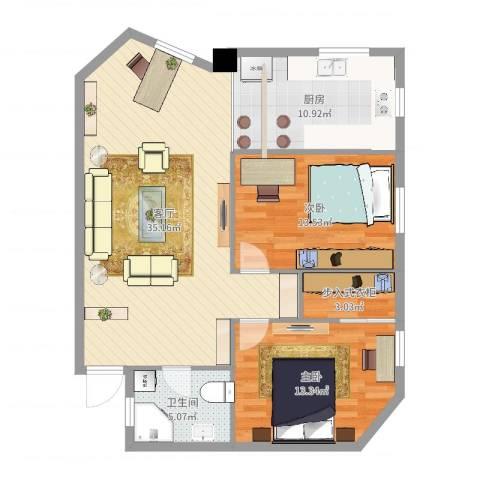 华侨城2室1厅1卫1厨101.00㎡户型图
