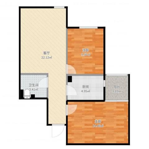电子城小区2室1厅1卫1厨72.00㎡户型图