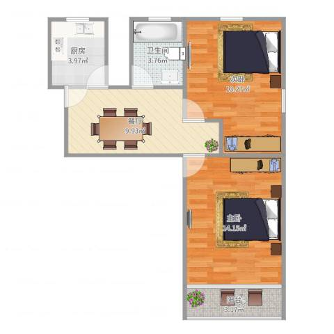 罗山七村博山东路173弄8号601室2-1-12室1厅1卫1厨60.00㎡户型图
