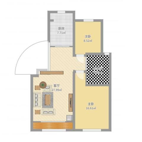 鑫阳家园2室1厅2卫1厨88.00㎡户型图