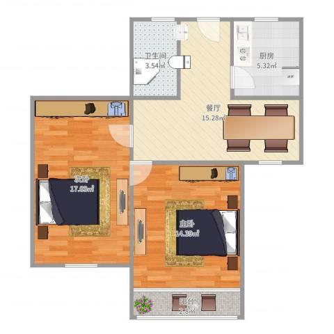罗山七村博山东路173弄16号603室2-1-12室1厅1卫1厨73.00㎡户型图