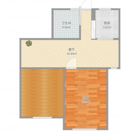 罗山七村博山东路1室1厅1卫1厨62.00㎡户型图