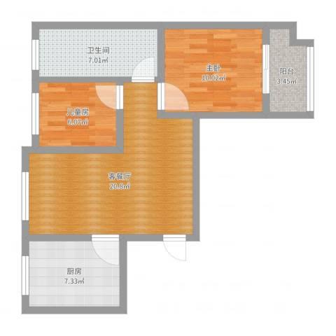 翰林学府11号楼2单元东户2室2厅1卫1厨68.00㎡户型图