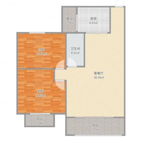 半岛碧桂园2室2厅1卫1厨116.00㎡户型图