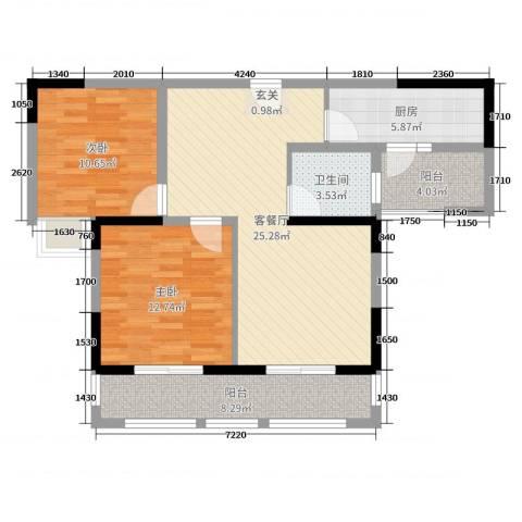 恒荣世家2室2厅1卫1厨88.00㎡户型图