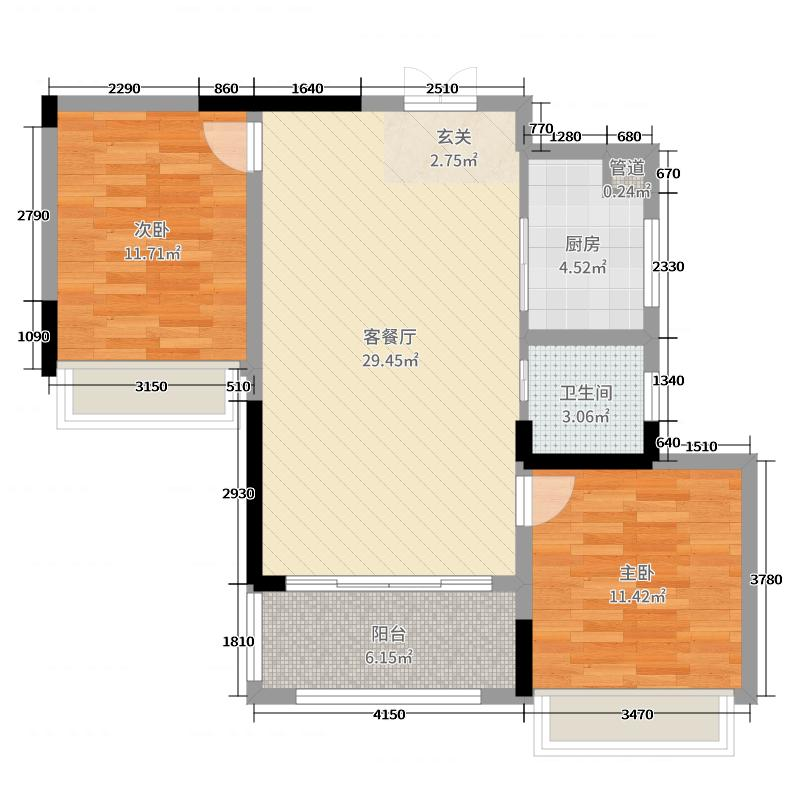 红谷汇景85.53㎡1#A2户型2室2厅1卫1厨