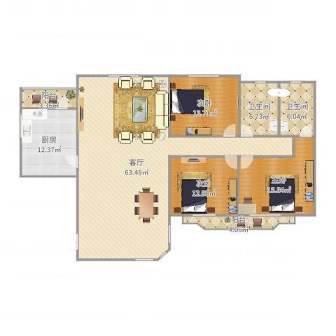 四方新城3室1厅2卫1厨173.00㎡户型图
