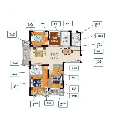 景徽国际陈总3室2厅2卫1厨140.00㎡户型图
