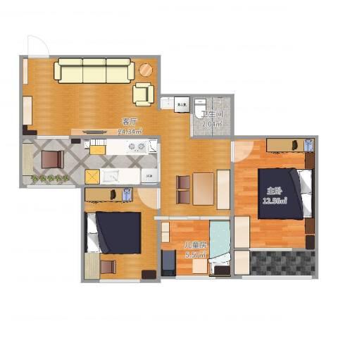 北苑家园绣菊园2室1厅2卫2厨82.00㎡户型图