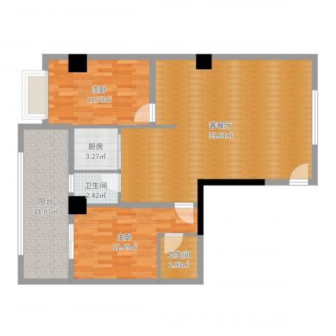 明珠小区2室2厅2卫1厨105.00㎡户型图