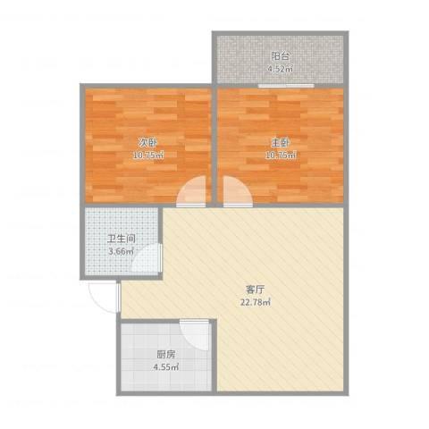 明珠小区2室1厅1卫1厨71.00㎡户型图