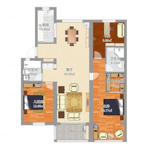 明珠小区3室1厅2卫1厨138.00㎡户型图