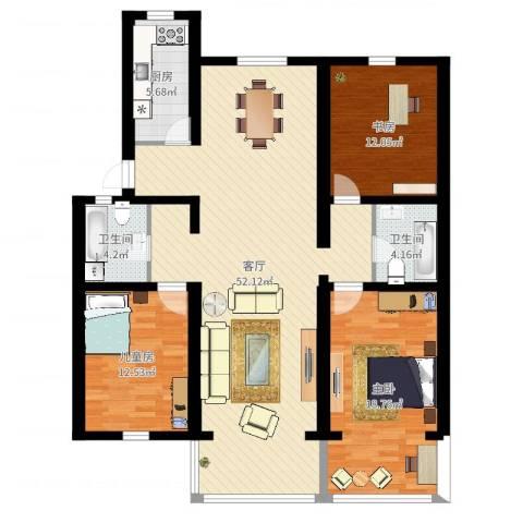 明珠小区3室1厅2卫1厨137.00㎡户型图
