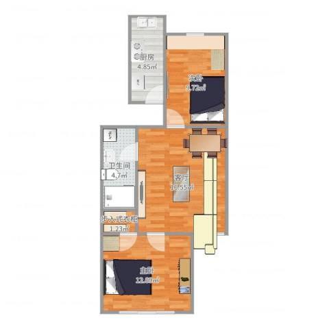 东方明珠小区2室1厅1卫1厨61.00㎡户型图