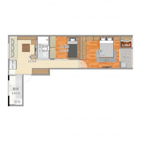 南辉小区3室1厅1卫1厨52.00㎡户型图