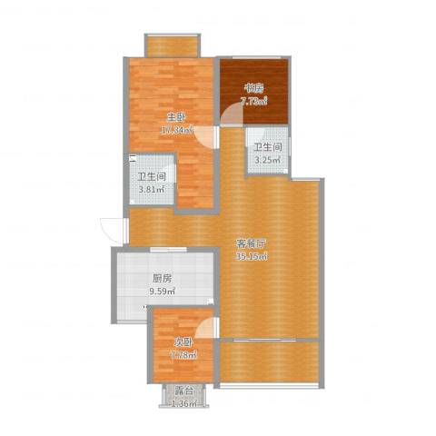 璧山金科中央公园城3室2厅3卫2厨119.00㎡户型图
