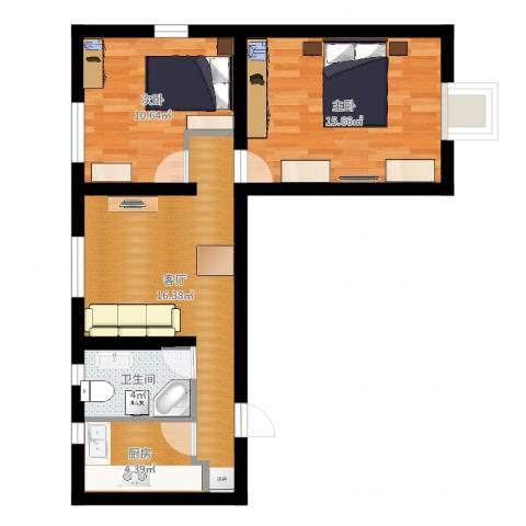 茅台新苑2室1厅1卫1厨64.00㎡户型图
