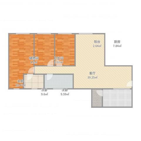 金海花园105方户型图2室1厅1卫1厨90.00㎡户型图