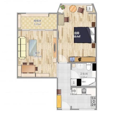 茅台新苑1室1厅1卫1厨67.00㎡户型图