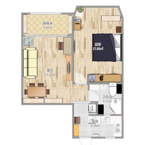 茅台新苑1室1厅1卫1厨62.00㎡户型图