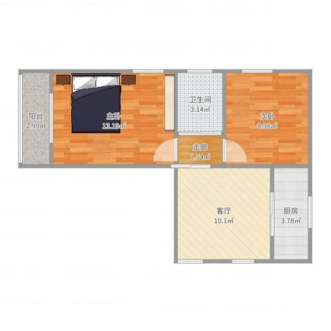 茅台花苑2室1厅1卫1厨55.00㎡户型图