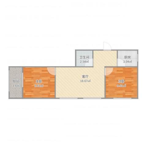 科宁公寓2室1厅1卫1厨59.00㎡户型图