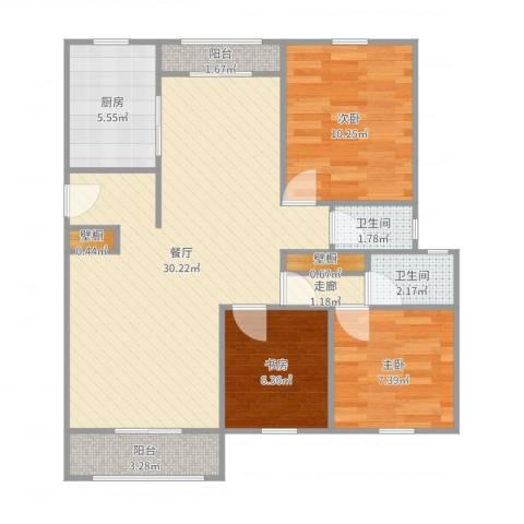 景博新园一期3室1厅2卫1厨89.00㎡户型图
