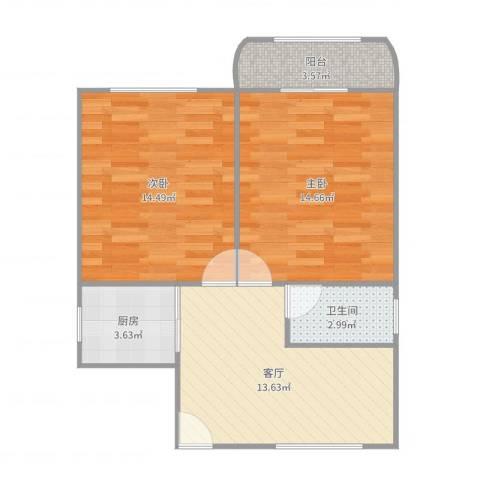 精益公寓2室1厅1卫1厨66.00㎡户型图
