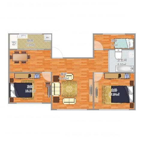 金钟小区3室1厅1卫1厨120.00㎡户型图