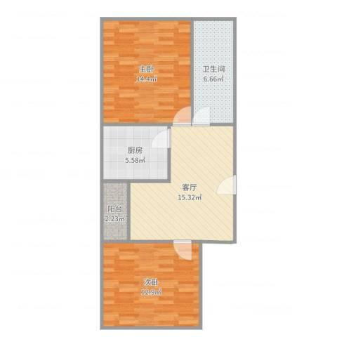 金狮公寓2室1厅1卫1厨71.00㎡户型图