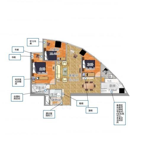 金桥大厦3室2厅3卫1厨113.00㎡户型图