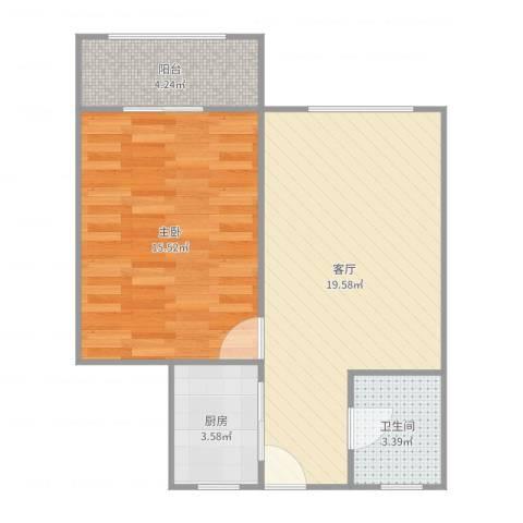 金虹苑1室1厅1卫1厨58.00㎡户型图