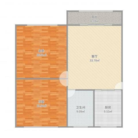 金虹苑2室1厅1卫1厨136.00㎡户型图