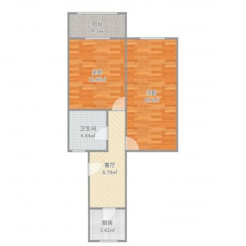 金虹苑2室1厅1卫1厨66.00㎡户型图